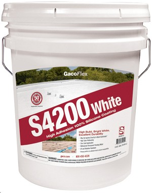 1 - Five Gallon Pail - Gaco Flex S4200 Silicone Roof Ctg - 1-White - (Caribbean Destinations excluding Puerto Rico)
